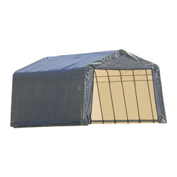 None - Shelterlogic 75232 Outdoor Garage Grey Canvas Shed - Protect your vehicles and wares with this wonderfully durable and reliable canvas shed from ShelterLogic. Featuring a tough stainless steel design,this outdoor garage will be able to handle anything the elements can dish out.