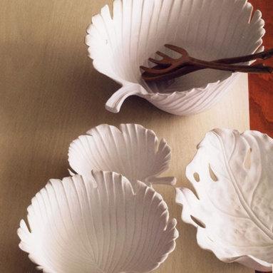 Porcelain Palm Leaf Serving Bowl, White -