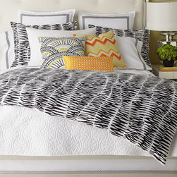 Horchow - King Zebra Stripe Three-Piece Comforter Set - The zebra pattern, always a favorite, looks as chic and fresh as ever on black and white cotton bedding. Accent pillows add pops of sunny citrus color, while Santorini quilts and Palm Springs Block embroidered European shams are available in a variety o...