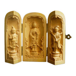Golden Lotus - Chinese Foldable Wood Carved Buddha Display Figure Hcs603-5 - This is a wooden carved small Buddha display figure which can be folded or opened with three statue figures relief carving inside.