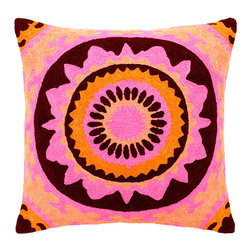 Trance in Saffron Decorative Pillow - The unique pink and orange pattern in these hand embroidered decorative pillows will keep you in a trance-like state with their hypnotizing design. Inspired by the free-spirited lifestyle of the 1960s and 1970s, these cotton and silk pillows will fill your house with an adventurous style along with an open mind. Dry clean only, each pillow comes with a synthetic down insert.