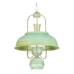 Hi-Lite - Country Patina Lantern Pendant - This distinctive lantern is American-made to give you a piece of admirable quality.  Its timeless design is crafted of brass in a patina finish with a powder coated clear coat for ultimate durability.  The functional downlight and charming design make this one brilliant choice for your home.  Please note that it includes 3? of chain.   Hi-Lite - H-133-D-33