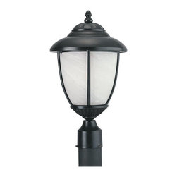 Sea Gull Lighting - Sea Gull Lighting 82950PBL-12 One Light Outdoor Post Fixture Black Finish With S - Sea Gull Lighting 82950PBL-12 One Light Outdoor Post Fixture Black Finish With Swirled Marblelized GlassYorktown Collection