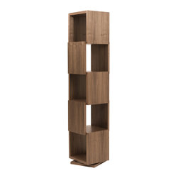 Tema Home - Shell Rotating Shelving Unit - Now you can showcase your stuff in rotation. An inventive and attractive shelf that can display your art pieces, but really makes an interesting presentation on its own. Rich walnut-veneer cubes open on alternating sides, all easily accessible atop a swiveling base.