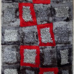 ~5' ft. x 7' ft. Shaggy Slate Grey with Touch of Red Indoor Room Hand-tufted Are - This Rug Measures Approximate Size(Width X Length):~5 X 7' ft. (152 cm x 214 cm) / No Assembly Required