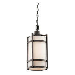 BUILDER - BUILDER Camden Lodge/Country/Rustic/Garden Outdoor Hanging Light X-IVA42194 - From the Camden Collection, this Kichler Lighting outdoor hanging light features a stylish blend of rustic and modern elements for an updated look. The soft tones of the opal etched glass shade are complimented by a contrasting Anvil Iron finish that pulls the look together.