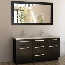 "Design Elements LLC - Moscony 60"" Double Sink Vanity Set in Espresso - The Moscony 60"" Double Sink Vanity Cabinet is constructed of solid wood and provides a contemporary design perfect for any bathroom remodel. The storage in this free-standing vanity set includes one fully functional drawer and three single door cabinets with three strictly decorate drawer panels lining the top of the cabinet each accented with brushed nickel hardware. The cabinet is available in both espresso and in white and comes as a complete set with a white quartz counter top and matching framed mirror."