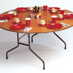 Correll Inc - Round Solid Fixed Height Folding Table (60 in - Finish: 60 in. x 72 in. Oval/Med OakFor heaviest duty home, office, school, church, rental, food service and commercial use. Stronger and lighter than particle board core tables. 0.75 in. thick plywood core with 0.08 in. premium high-pressure top and Masonite backer sheet. 0.875 in. total top thickness. 1.125 in. 14 gauge steel wishbone legs. 1.625 in. one piece steel Apron. Mar-proof plastic foot caps and edge molding. Automatic lock-open mechanism. Pictured in Medium Oak. 60 in. Round. 60 in. x 72 in. Oval