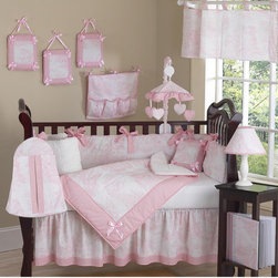 Sweet Jojo Designs - Pink Toile Collection 9pc Crib Bedding Set - Pink French Toile 9 pc Crib Bedding set has all that your little bundle of joy will need. Let the little one in your home settle down to sleep in this incredible nursery set. This elegant baby girl crib bedding set uses a traditional French toile print with a super soft chenille and coordinating gingham, decorated in satin bows as a special accent. This collection uses the stylish colors of Pink and White. The design uses 100% cotton fabrics and cotton chenille that are machine washable for easy care. This wonderful set will fit all cribs and toddler beds. Features: -Crib Comforter. -Crib Bumper . -Fitted Sheet . -Crib Skirt (Dust Ruffle) . -Diaper Stacker . -Toy Bag . -Decorative Pillow. -2 Window Valances.