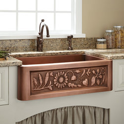 "30"" Floral Design Copper Farmhouse Sink - A generously deep basin and delightful flower motif make the Floral Design Farmhouse Sink a desirable addition to your kitchen."