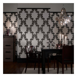 Graham & Brown - Regency Wallpaper - Create a grand statement with our black and white wallpaper with this silver glitter embellished ornamental trellis design, this will be eye catching and will look classical in any room.