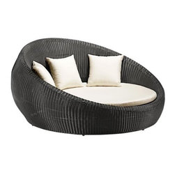 "Zuo Anjuna Outdoor Bed - When I look at this round outdoor bed, I picture it on the roof of some swanky boutique hotel in L.A. Why shouldn't the rest of us have that sort of comfort at home?Dark brown finish.Aluminum interior tube frame.UV treated exterior weave.Water resistant foam cushions.35 1/2"" high x 67"" wide x 53 1/4"" deep."