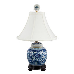 Oriental Danny - Small Blue and white lamp - This blue and white lamp is great for smaller space that does not require a big one. Under shelves, book cases, hallway, bathrooms, etc.... Dressed with silk lamp shade. 60 watts, 3 way switch, UL listed.