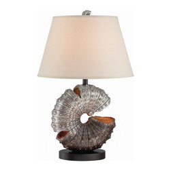 Lite Source - Lite Source LS-22414 Nautilus 1-Light Table Lamps in Aged Silver Sea Shell - Table Lamp, Aged Silver Sea Shell/off-white Fabric, E27 A 100w
