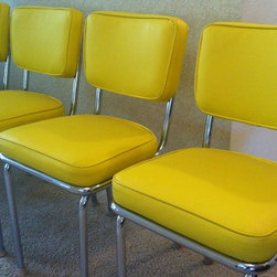 50's Retro Dining Chairs, Reupholstered - 50's Retro dining room chairs reupholstered in a fun yellow vinyl.