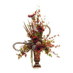 Burgundy Sunflower Floral - This is the wild child of floral arrangements. With its exquisite burgundy vase, gold detail and explosion of feral sunflowers, this one is really quite the eye catcher. It's magnificent on your dining table or among holiday decorations.