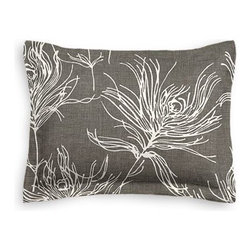 Dark Gray Feather Print Custom Sham - The Simple Sham may be basic, but it won't be boring!  Layer these luxurious reversible shams in various styles for a bed you'll want to fall right into. We love it in this modern print with giant white feathers floating across a heathered charcoal cotton ground.