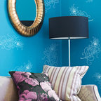 Peacock Feathers Wall Stencils - Peacock Feathers Wall Stencil from Royal Design Studio Stencils. These small handpainted Asian feathers are airy and light and great for living rooms, childrens' rooms, craft rooms and bathrooms.