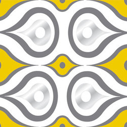 "WallPops - Aztec Diamond Stripe Wall Decals - Vivid yellow and bold grey hues with shimmering silver accents adorn these lovely geometric wall decals. Aztec Diamond WallPops by Jonathan Adler are vivid and stylish, adding a funky pattern to walls. Stripes are 6.5"" wide x 12' long and come one to a pack. WallPops are always repositionable and removable."