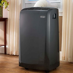 Frontgate - DeLonghi Portable Air Conditioner and Heater - 13,000 BTU air conditioner cools a 500 square foot area. 3,810-watt heat pump provides warmth on chilly days. 3 speed fan. 12-hour digital timer and thermostat. Remote control lets you operate the unit from across the room. The DeLonghi Portable Air Conditioner and Heater offers cooling and supplemental heating comfort for any room in your home up to 500 square feet – making it perfect for year-round use. This 13,000 BTU unit can also dehumidify the ambient air for an additional level of comfort. . . . . . Exclusive condensate recirculation system recycles the condensation within the machine for dripless, bucketless operation. Easy access washable air filter. Handles and castors for easy mobility. Window bracket included. View instruction manual. View additional specifications .
