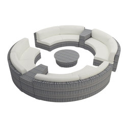 Harmonia Living - Urbana Eclipse 7 Piece Round Sectional Set, Canvas Natural Cushions - Create the perfect outdoor gathering with the Harmonia Living Urbana Eclipse 7 Piece Modern Patio Curved Sectional Sofa Set with White Sunbrella cushions (SKU HL-URBN-E-WS-7SEC-CN), featuring clean curves and brushed aluminum feet. This curved sofa sectional's seating is a great match for patios with fire pits or circular tables. The seats are made of High-Density Polyethylene (HDPE) wicker infused with a Weathered Stone color and UV protection, surpassing the quality of natural rattan. Underneath the resin wicker is a thick-gauged aluminum frame, providing superior corrosion resistance.