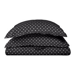 600 Thread Count Full/Queen Duvet Set Cotton Rich Polka Dot - Black - With these Cotton Rich 600 Thread Count Polka-Dot Duvet Cover Sets you can liven up the look of your bedroom. Featuring playful polka dot design on both sides, these duvet cover create a fun and stylish look that will keep your room looking awesome all year-round. Set includes One Duvet Cover 90x92 and Two Pillow-shams 20x26 each.