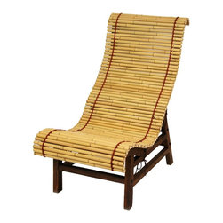 Oriental Furniture - Curved Japanese Bamboo Lounge Chair - Japanese bamboo all-wood lounge chair features a curved seat and back design fitting the contours of the body for maximum relaxation. Sturdy wood frame is finished in a dark stain with visible wood grain. Bamboo rod mat retains its natural light color and is stitched together with bright red string. Place a pair on the deck, porch, or poolside as part of an Oriental, exotic, tropical or rustic theme. As with all outdoor furniture, storing during harsh weather for the longest product life.