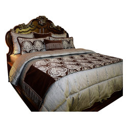 Twilight Coverlet Set, Ultra King - A sumptuous Chocolate and Blue patterned Chenille is the focal of this romantic bed set. Complimented by a rich Chocolate Velvet and garnished with details of beads and ribbon.
