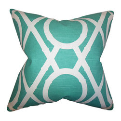 The Pillow Collection - Whit Blue 18 x 18 Geometric Throw Pillow - - Pillows have hidden zippers for easy removal and cleaning  - Reversible pillow with same fabric on both sides  - Comes standard with a 5/95 feather blend pillow insert  - All four sides have a clean knife-edge finish  - Pillow insert is 19 x 19 to ensure a tight and generous fit  - Cover and insert made in the USA  - Spot clean and Dry cleaning recommended  - Fill Material: 5/95 down feather blend The Pillow Collection - P18-ROB-LATTICEBAMBOO-POOL-C10