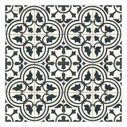 Classic Cement Tile Patterns - Cement Tile Shop - Handmade Cement Tile   Roseton White Pattern