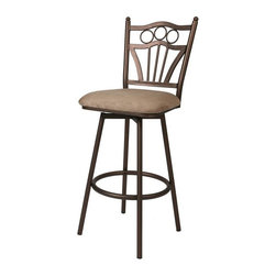 """Pastel Furniture - Pastel Furniture Florence 26 Inch Swivel Barstool (Set of 2) - The Florence barstool brings Traditional comfort with clean and elegant style.This swivel barstool features a quality metal frame with sturdy legs and foot rest finished in Classic Bronze. The padded seat is upholstered in Topanga Brown offering comfort and style. Available in 26"""" counter height or 30"""" bar height."""