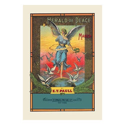 """Buyenlarge.com, Inc. - Herald of Peace: March- Paper Poster 20"""" x 30"""" - Edward Taylor Paull (1858 - 1924) was a prolific publisher of sheet music marches. His songs gained acclaim more from the cover art of the sheet music than often from the lyrics and tune."""