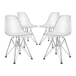 """Paris Kids Chair Set of 4 - Introduce your kids to mod while they explore the effects of gravity. Instead of being impressed by the chair's famously deep seat pocket and stylish design, kids will find it more compelling to try and balance themselves on as few legs as possible. The next generation knows why this chair was originally called the chair of """"tomorrow."""" Because it's boring to sit on stationary object that doesn't do anything."""