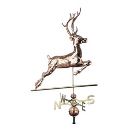 "Polished Copper Deer Weathervane - Not just a deer - this Polished Copper Deer Weathervane is a handsome seven-point buck.  He runs to the direction of the wind, ever-evading the trailing compass.  Polished copper is forever lasting and withstands even the harshest of weather conditions.  Do you know which way the wind blows?  Follow this deer"" as nobody knows.  A thoughtful gift for your favorite hunter or nature lover."