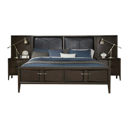 Liberty - Liberty Furniture Arterra Queen Storage Bed Wall with Leather Headboard in Java - Use the leather and wood combination in this low-profile bed as a stunning centerpiece in your master bedroom. Leather panels are framed in java finished wood to give this bed a modern appeal. Two storage drawers in the footboard are decorated with satin nickel pull handles over vacuum-formed designs. The footboard features a concave center section to add to the list eye-catching elements on this bed. Tapered feet, a rich java finish, and clean lines keep this transitional bed easy to style and compatible with any existing bedroom decor.