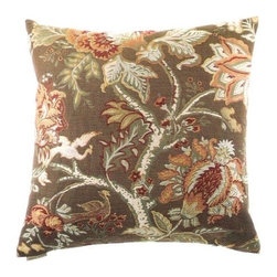 """Canaan - 24"""" x 24"""" Tree of Life Brown Floral Print Throw Pillow with Insert and Cover - Tree of life brown floral print throw pillow with a feather/down insert and zippered removable cover. These pillows feature a zippered removable 24"""" x 24"""" cover with a feather/down insert. Measures 24"""" x 24"""". These are custom made in the U.S.A and take 4-6 weeks lead time for production."""