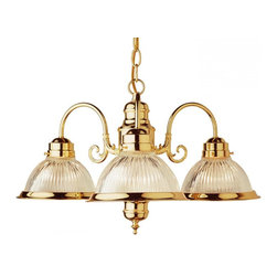 Joshua Marshal - Three Light Polished Brass Clear Ribbed Halophane Glass Down Chandelier - Three Light Polished Brass Clear Ribbed Halophane Glass Down Chandelier