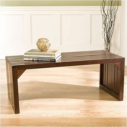 "Wildon Home � - Wakefield Slat Table / Bench - Sleek and sophisticated, this contemporary espresso bench is a stylish seating addition or coffee table alternative. The minimalist slat construction is functional without being overbearing. Modern living often calls for furniture that can adapt to multiple uses, which is why this bench makes the perfect cocktail table for your house, apartment, or loft. The open space created below this bench is perfect for baskets or shoes depending on your use. Features: -Base has solid wood construction.-Espresso finish.-Seating Capacity: 2.-Arms Included: No.-Back Included: No.-Number of Items Included: 1.-Cushions Included: No.-Lid Included: No.-Skirted: No.-Slipcover: No.-Upholstered: No.-Stackable: No.-Foldable: No.-Tray Included: No.-Powder Coated Finish: No.-Storage Included: No.-Material: Asian hardwoods.-Solid Wood Construction: No.-Outdoor Use: No.-Legs Included: No.-Swatch Available: No.-Commercial Use: No.-Finish: Rich espresso.-Hand Painted: Yes.-Distressed: No.-Recycled Content: No.-Eco-Friendly: No.-Product Care: Wipe with a clean dry cloth.-Weight Capacity: 250 lbs.Specifications: -FSC Certified: No.Dimensions: -Overall Height - Top to Bottom: 16.25"".-Overall Width - Side to Side: 40"".-Overall Depth - Front to Back: 18.25"".-Overall Product Weight: 23 lbs.Assembly: -Assembly Required: Yes.-Tools Needed: Screwdriver, Allen wrench.-Additional Parts Required: No.Warranty: -Product Warranty: 1 year limited manufacturer warranty."