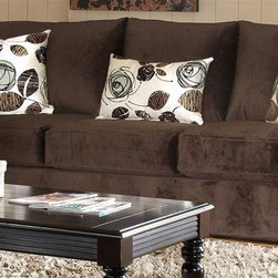 Chelsea Home - Chloe Contemporary Sofa - Includes toss pillows. Sofa with bella chocolate cover. Pillows with tory spa cover. 100 % poly fabric. Solid kiln dried hardwoods frame. Reinforced stress points with blocks to secure a long lasting frame. Medium seating comfort. Reinforced 16-gauge border wired sinuous springing system to maintain a uniform seating. Double springs used on the ends nearest the arms to give balance in the seating. Cushion made from hi-density foam cores with dacron polYter wrap and zippers. Made in USA. No assembly required. 92 in. L x 40 in. W x 40 in. H (120 lbs.)