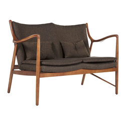 #N/A - The Esjberg Love Seat - The Esjberg Love Seat. The Esjberg Love Seat is made from American Ash stained in Walnut color with fabric upholstery. This elegant and sturdy design will be a statement piece in your home as well as the best seat in the house.
