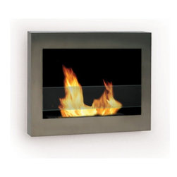 Anywhere Fireplace - SoHo Wall Mount Ethanol Fireplace, Stainless Steel - Dimensions: 27.5W x 19�H x 5�D
