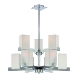 Joshua Marshal - 3/6-Lite Chandelier, Ps/Frost Glass Shade,E27 Type A 60Wx9 - Finish: Frosted