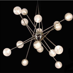 Trend - Galaxia Brushed Nickel Sixteen-Light Pendant - This unique sixteen-light pendant features a brushed nickel finish paired with sixteen clear glass orbs with spun filament detail.    It has a maximum drop of 80? and includes sixteen 20-watt halogen bulbs and one 12-volt magnetic transformer.  This fixture is both UL and CUL approved.  This fixture is not suitable for sloped ceilings. Trend - TP6366-16