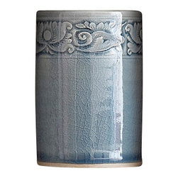 bailanmu - Blue Celadon Tumbler, Border Floral - Double dipped, two toned, indigo shade of blue or hand carved border floral Both equally lovely to use as a vanity and drinking tumbler.