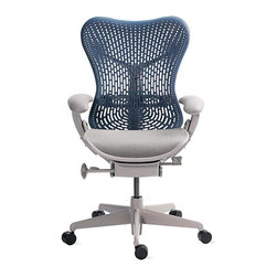 SOLD OUT!   Herman Miller Mirra Chair - $820 Est. Retail - $550 on Chairish.com - The seller of this stylish and practical desk chair is former DWR executive who purchased this during his tenure there. A new Mirra Task chair retails for about $820 so this rarely used one represents a great savings opportunity. That's what Chairish is all about! If you spend a lot of time at your desk (we're sorry! go furniture shopping! ) this is the kind of well considered chair that will save your back! This original is an authentic, fully licensed product of Herman Miller, Inc. There is some very slight wear to the seat which we show in detail shots. These are photos of the actual chair.