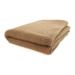 "Pur by Pur Cashmere - Signature Blend Throw Heather Mocha 50""x70"" - Cashmere blend thermal knit throw. 50% cashmere. 50% wool blend Dry clean only. Inner mongolia."