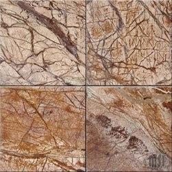 "Cafe Forest Brown Polished Marble Floor Tile 12"" x 12"" - Lot of 10 Tiles - 12"" x 12"" thick Cafe Rain Forest Brown Polished Marble Tiles."