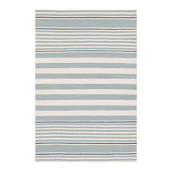 Dash & Albert - Beckham Stripe Light Blue Indoor/Outdoor Rug, 6 X 9 - A rug for all seasons. Made of superheroic polypropylene, our indoor/outdoor area rugs are terrific for high-traffic areas and muddy messes. Scrubbable, bleachable and UV-treated for outdoor use, this collection of woven rugs can stand up to all that you dish out.