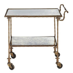 BoBo Intriguing Objects - BoBo Intriguing Objects Josie Mirrored Rolling Cart - Antiqued brass with antiqued mirror shelving.