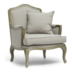 "Baxton Studio - Baxton Studio Constanza Classic Antiqued French Accent Chair - The Constanza French Living Room Chair will show you why French style has worked its way into the modern home. The distressed look of the antiqued finish exposed rubberwood frame is surprisingly versatile, fitting with like-minded traditional French furnishings as well as sleek modern and industrial styles.  Similarly versatile is the neutral gray-beige linen upholstery, encasing comfy foam cushions.  We recommend exclusively spot cleaning. The Constanza Designer Arm Chair is made in China and requires assembly.  Seat dimension: 18.5"" H x 25"" W x 24"" D"